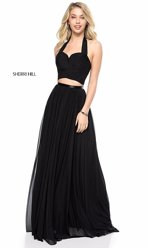 Halter-Top Long Prom Dress by Sherri Hill