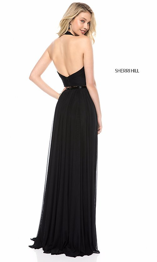 Image of long halter-top prom dress by Sherri Hill. Style: SH-51900 Back Image