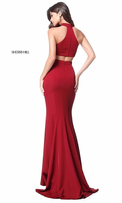 Image of Sherri Hill formal long prom dress with cut out. Style: SH-51682 Back Image