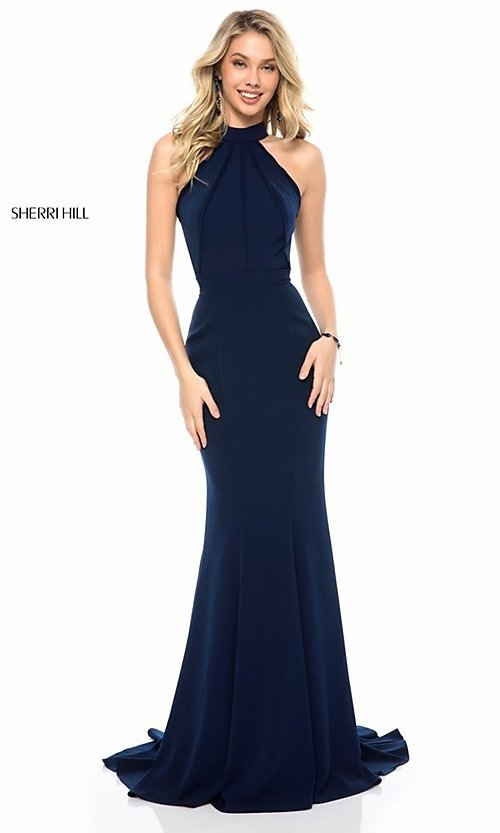 Image of Sherri Hill formal long prom dress with cut out. Style: SH-51682 Front Image