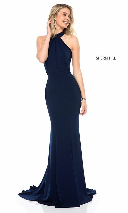 Image of Sherri Hill formal long prom dress with cut out. Style: SH-51682 Detail Image 1