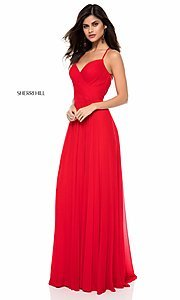 Image of Sherri Hill long prom dress with ruched bodice. Style: SH-51997 Detail Image 1