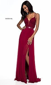 Image of Sherri Hill long v-neck prom dress with beaded lace. Style: SH-52034 Detail Image 2