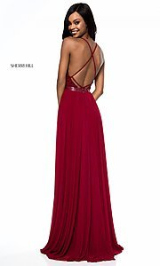 Image of Sherri Hill long v-neck prom dress with beaded lace. Style: SH-52034 Detail Image 3