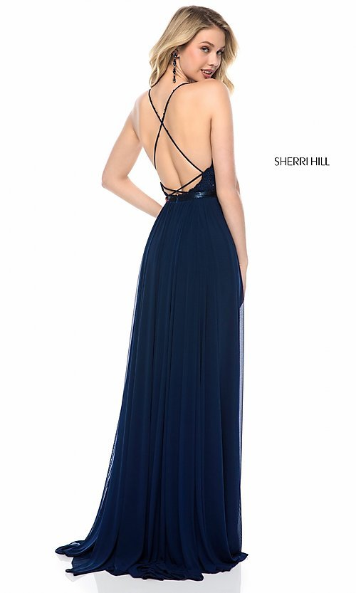 Image of Sherri Hill long v-neck prom dress with beaded lace. Style: SH-52034 Back Image