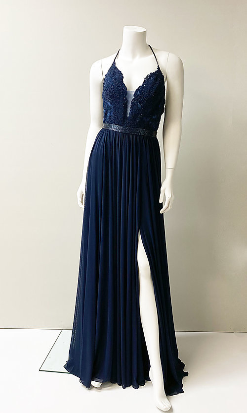 Image of long v-neck formal prom dress with beaded lace. Style: SH-52034 Front Image