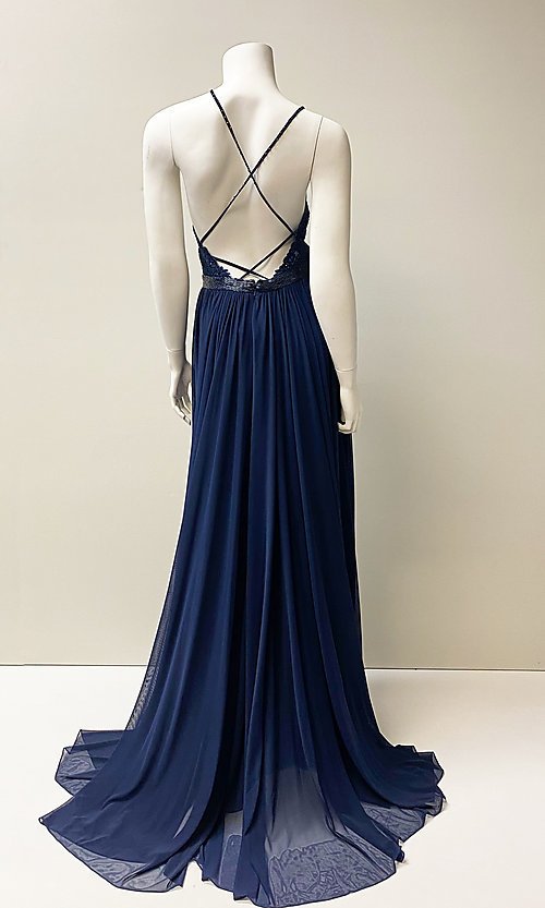 Image of long v-neck formal prom dress with beaded lace. Style: SH-52034 Back Image