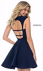 Image of Sherri Hill short open-back homecoming party dress. Style: SH-S51954 Back Image