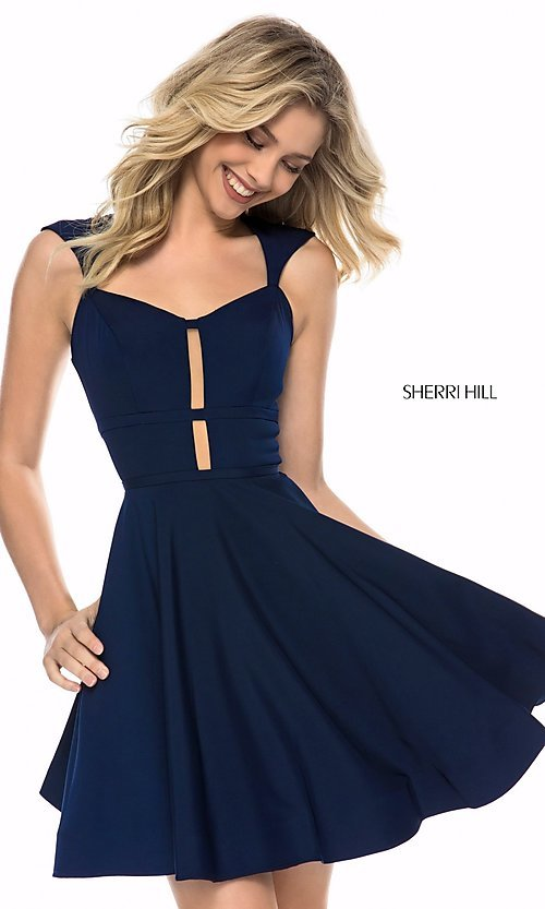 Image of Sherri Hill short open-back homecoming party dress. Style: SH-S51954 Front Image