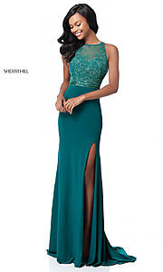 Image of cut-out beaded-bodice Sherri Hill long formal dress. Style: SH-51686 Front Image