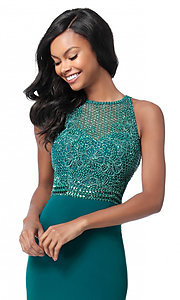 Image of cut-out beaded-bodice Sherri Hill long formal dress. Style: SH-51686 Detail Image 1