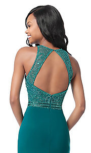 Image of cut-out beaded-bodice Sherri Hill long formal dress. Style: SH-51686 Detail Image 2