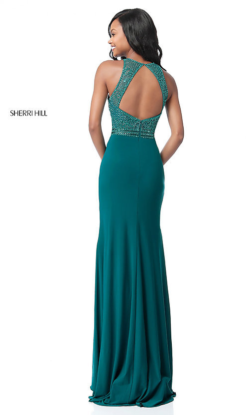Image of cut-out beaded-bodice Sherri Hill long formal dress. Style: SH-51686 Back Image