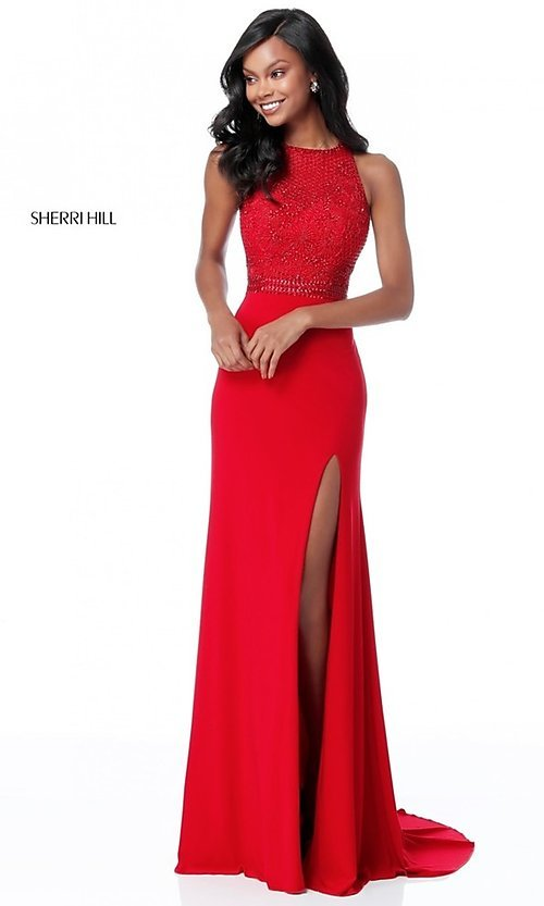 Image of cut-out beaded-bodice Sherri Hill long formal dress. Style: SH-51686 Detail Image 3
