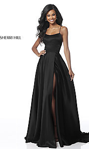 Image of Sherri Hill long prom dress with strappy open back.  Style: SH-51631 Detail Image 3