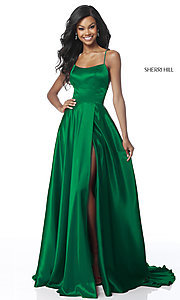 Image of Sherri Hill long prom dress with strappy open back.  Style: SH-51631 Detail Image 1