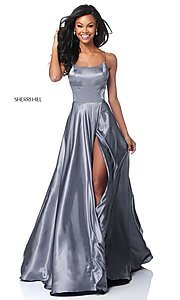 Image of Sherri Hill long prom dress with strappy open back.  Style: SH-51631 Detail Image 8