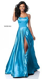 Image of Sherri Hill long prom dress with strappy open back.  Style: SH-51631 Detail Image 6
