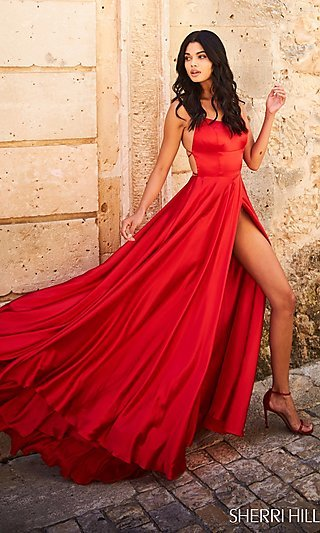 Sherri Hill Long Prom Dress with Strappy Open Back