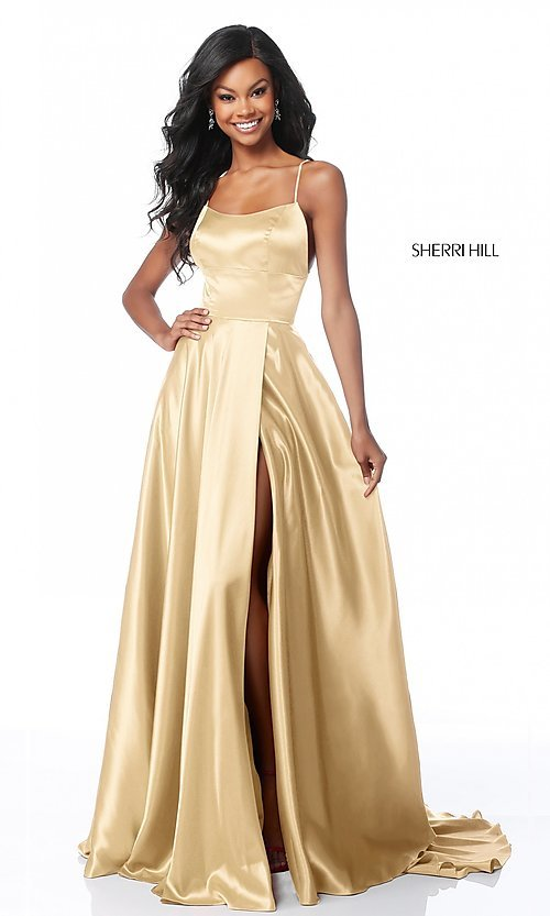 Image of Sherri Hill long prom dress with strappy open back.  Style: SH-51631 Detail Image 7
