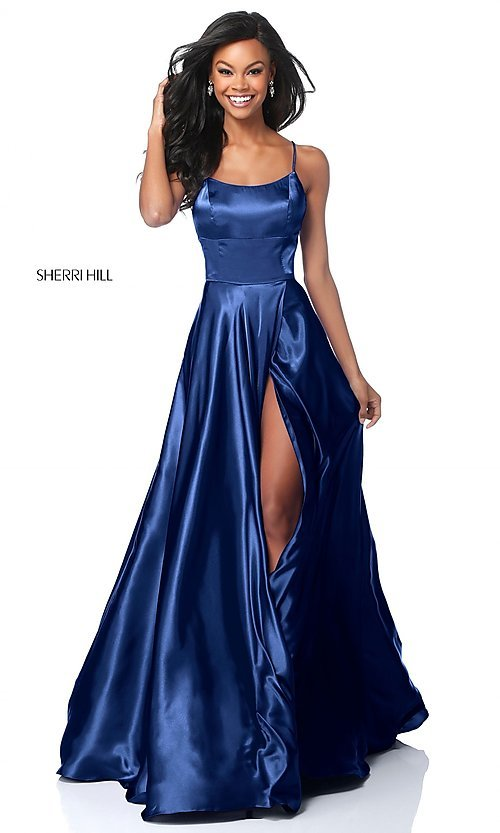 Image of Sherri Hill long prom dress with strappy open back.  Style: SH-51631 Detail Image 4