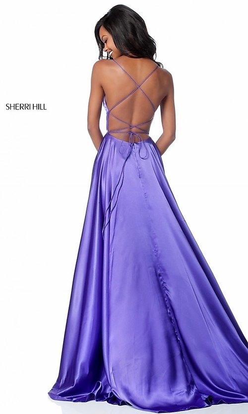 Image of Sherri Hill long prom dress with strappy open back.  Style: SH-51631 Back Image
