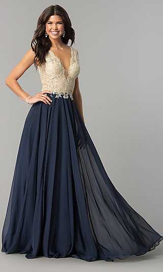 a88b7182882 V-Neck Long Prom Dress with Lace Applique