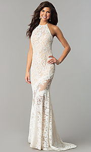 Image of long lace halter prom dress with rhinestones. Style: NC-2141 Front Image