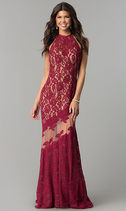 Image of long lace halter prom dress with rhinestones. Style: NC-2141 Detail Image 1