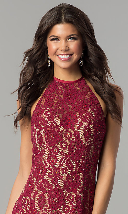 Image of long lace halter prom dress with rhinestones. Style: NC-2141 Detail Image 2