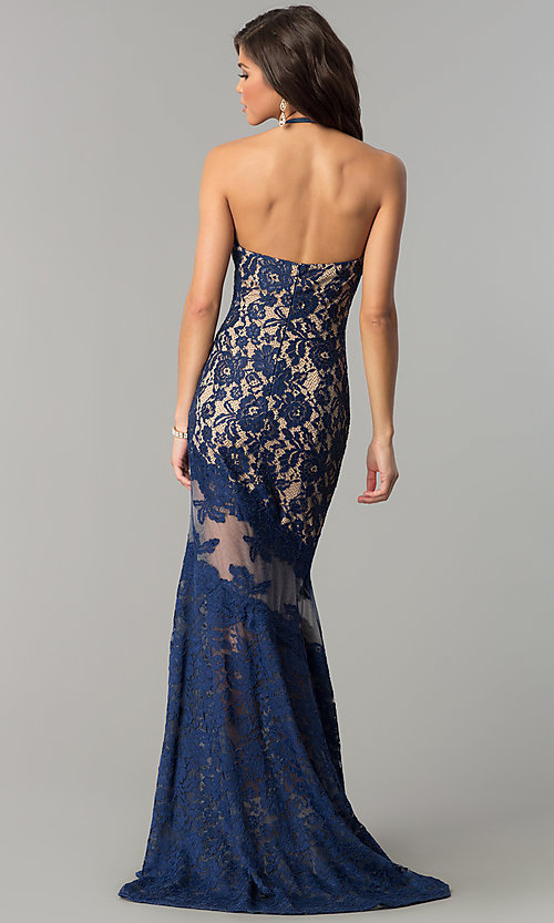 Image of long lace halter prom dress with rhinestones. Style: NC-2141 Back Image