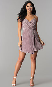 Image of faux-wrap v-neck short party dress in crinkle silk. Style: AC-DA23274R Detail Image 1