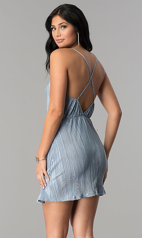 Image of faux-wrap v-neck short party dress in crinkle silk. Style: AC-DA23274R Back Image