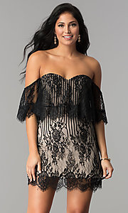 Image of off-the-shoulder short black lace party dress. Style: AC-DA23575B Front Image