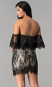 Image of off-the-shoulder short black lace party dress. Style: AC-DA23575B Back Image