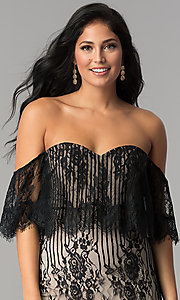 Image of off-the-shoulder short black lace party dress. Style: AC-DA23575B Detail Image 1