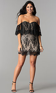 Image of off-the-shoulder short black lace party dress. Style: AC-DA23575B Detail Image 2