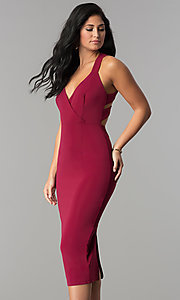 Image of burgundy v-neck midi sheath wedding guest dress. Style: AC-DX22251G Front Image