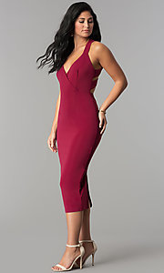 Image of burgundy v-neck midi sheath wedding guest dress. Style: AC-DX22251G Detail Image 3