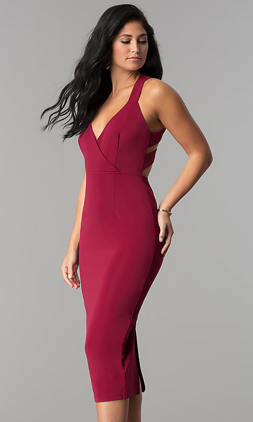 V Neck Burgundy Red Midi Sheath Wedding Guest Dress