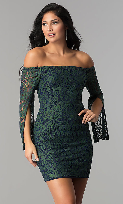 Image of split-sleeve off-the-shoulder short lace party dress. Style: AC-DA24015B Front Image