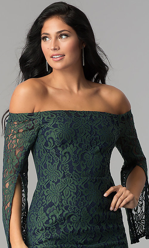 Image of split-sleeve off-the-shoulder short lace party dress. Style: AC-DA24015B Detail Image 1