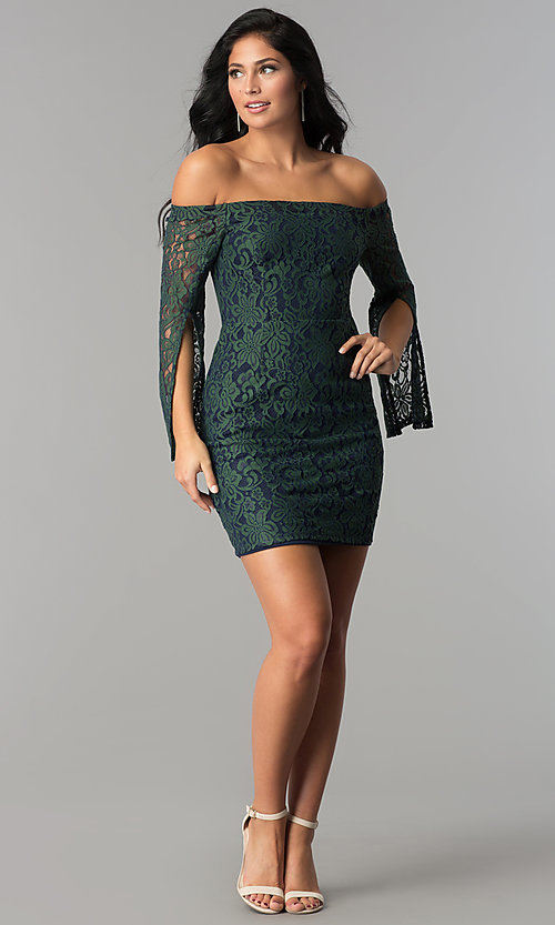 Image of split-sleeve off-the-shoulder short lace party dress. Style: AC-DA24015B Detail Image 2