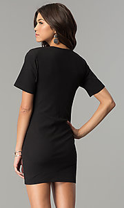 Image of short black casual party dress with side cut out. Style: AC-DH24171E Back Image