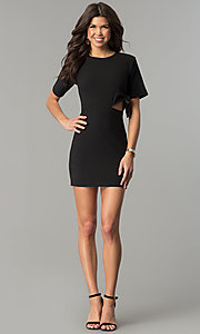 Image of short black casual party dress with side cut out. Style: AC-DH24171E Detail Image 2