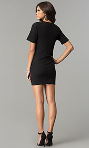 Image of short black casual party dress with side cut out. Style: AC-DH24171E Detail Image 3