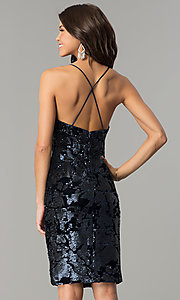Image of navy blue sequin short velvet holiday party dress. Style: AC-DA23984B Back Image