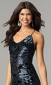 Image of navy blue sequin short velvet holiday party dress. Style: AC-DA23984B Detail Image 1