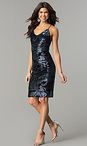 Image of navy blue sequin short velvet holiday party dress. Style: AC-DA23984B Detail Image 2