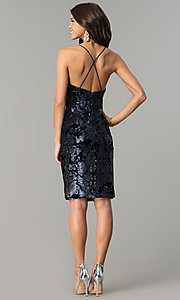 Image of navy blue sequin short velvet holiday party dress. Style: AC-DA23984B Detail Image 3